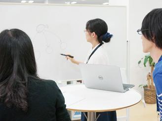 社内に「立ちミーティングボード」を設置。短時間で効率的なミーティングが行えます。