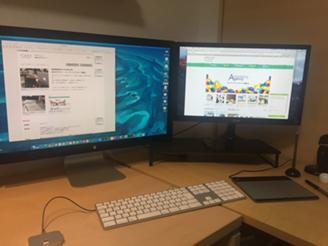 制作環境はMacでデュアルディスプレイです。windowsもご用意してあります。