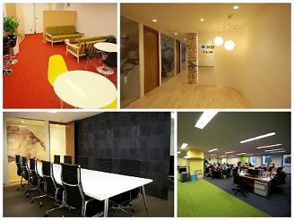 左上のカフェスペースでは、休憩をしたりと社員が集うスペースになってます!