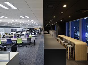事業部門をワンフロアに集約することにより、部門の垣根を越えた新たなコミュニケーションの促進します!