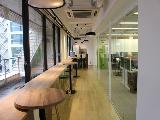明るい光が差し込む回廊スペース。コーポレートカラーの緑を基調とした働きやすいオフィスです